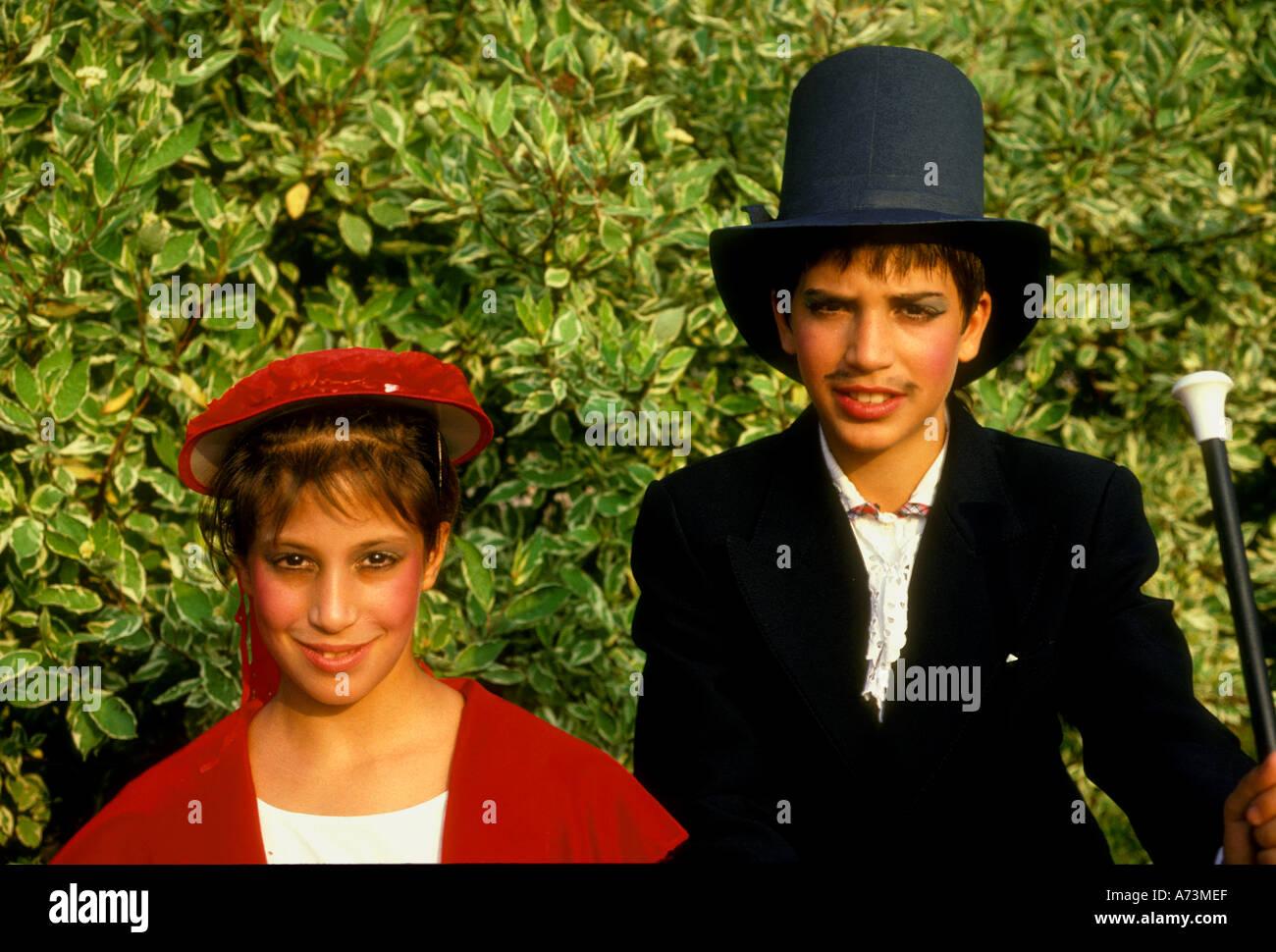 French girl, French, girl, French boy, French, boy, French children, students, costume dance, school dance, Les Mureaux, Ile-de-France, France - Stock Image