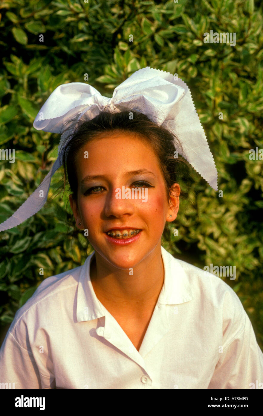1, one, French girl, French, girl, female child, student, wearing costume, costume dance, school dance, Les Mureaux, Ile-de-France, France, Europe - Stock Image