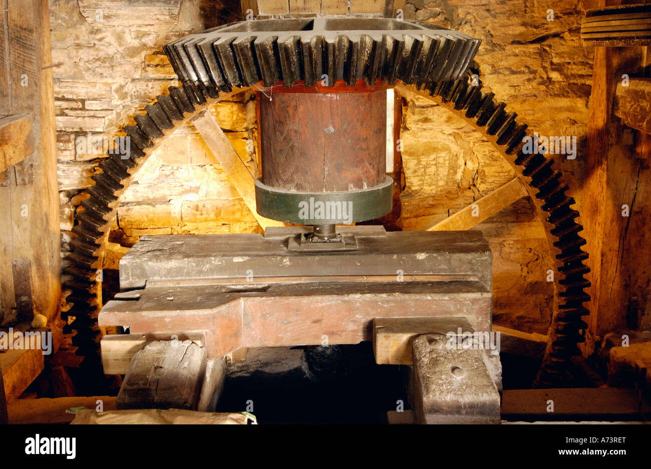 Motion transfer gearing at Bacheldre Watermill Churchstoke Montgomery Powys Mid Wales UK - Stock Image