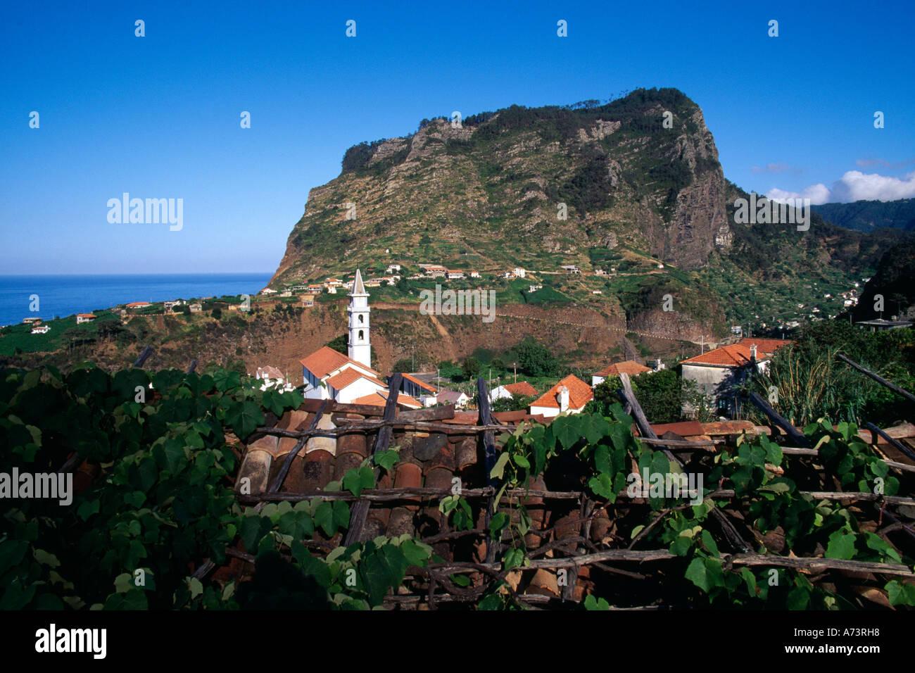 Village Church Mountain Eagle Rock Faial Madeira Portugal - Stock Image