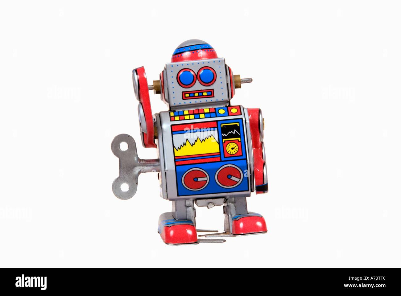 Fifites style tin robot toy  horizontal - Stock Image