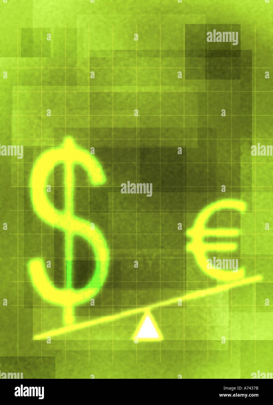 Dollar vs euro Stock Photo