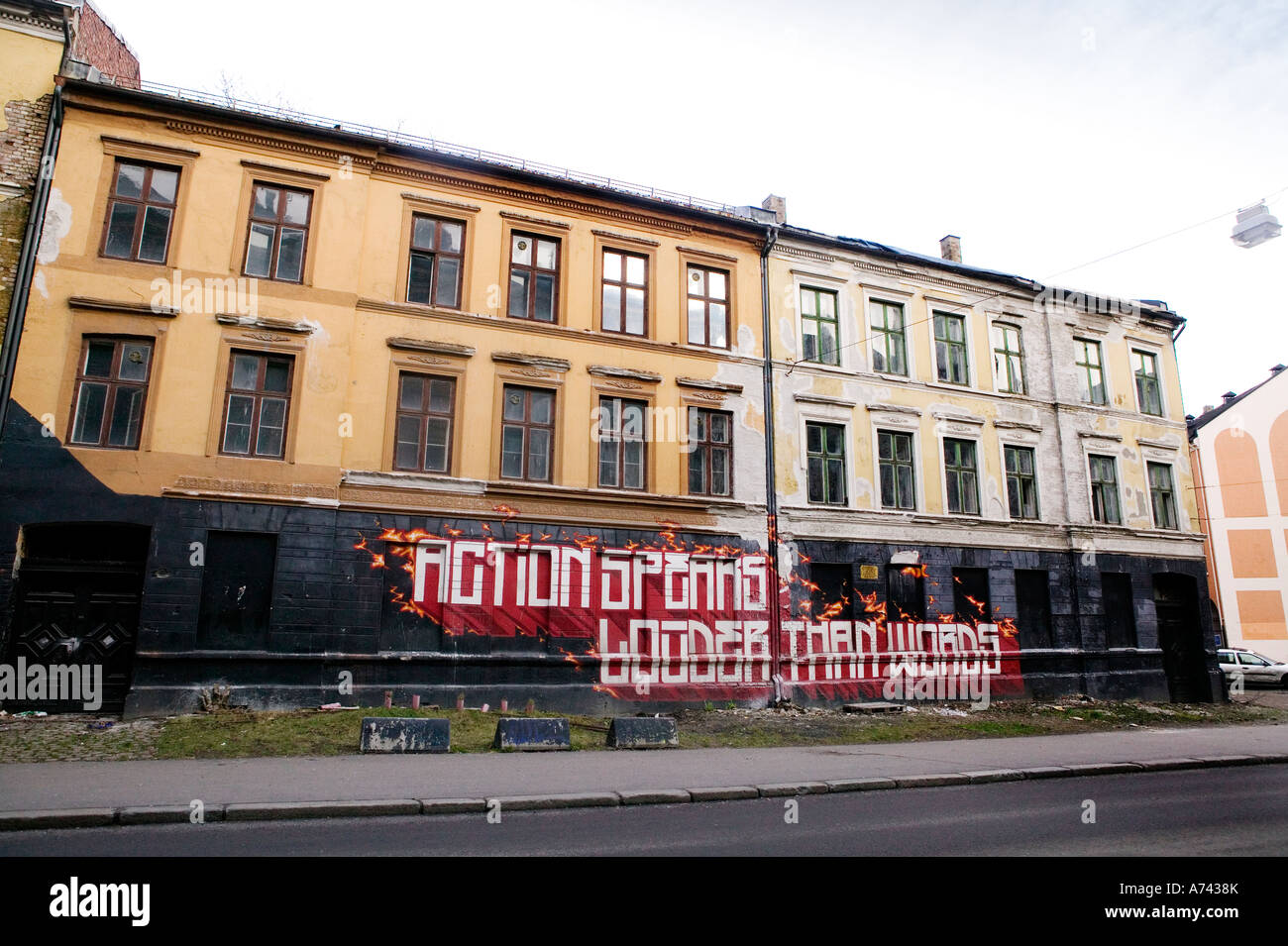 An building in Oslo occupied by a group called Blitz Stock Photo