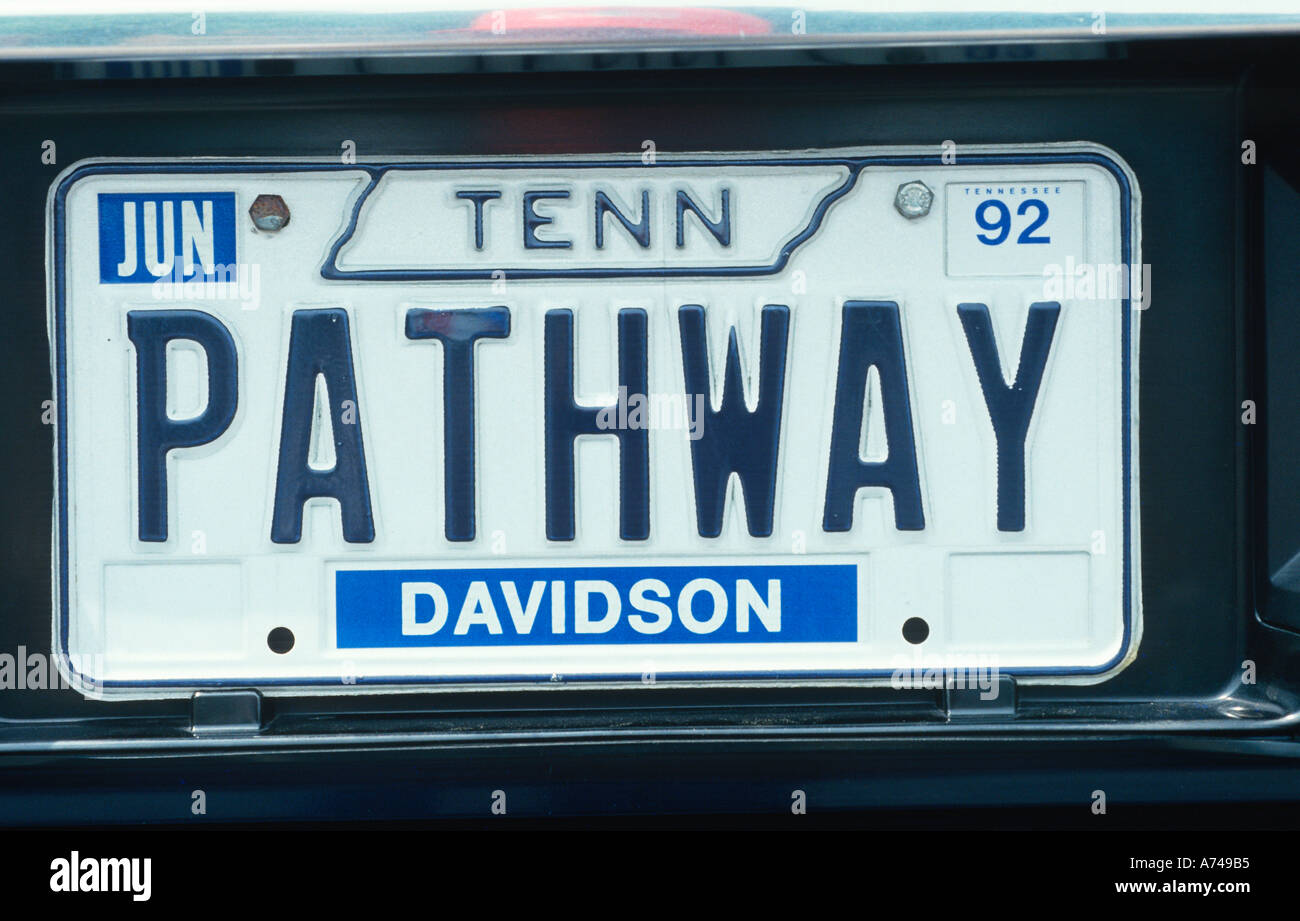 Vanity License Plate Tennessee Stock Photo: 477621 - Alamy