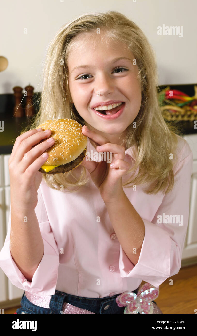 Blond teen playing with food — 13