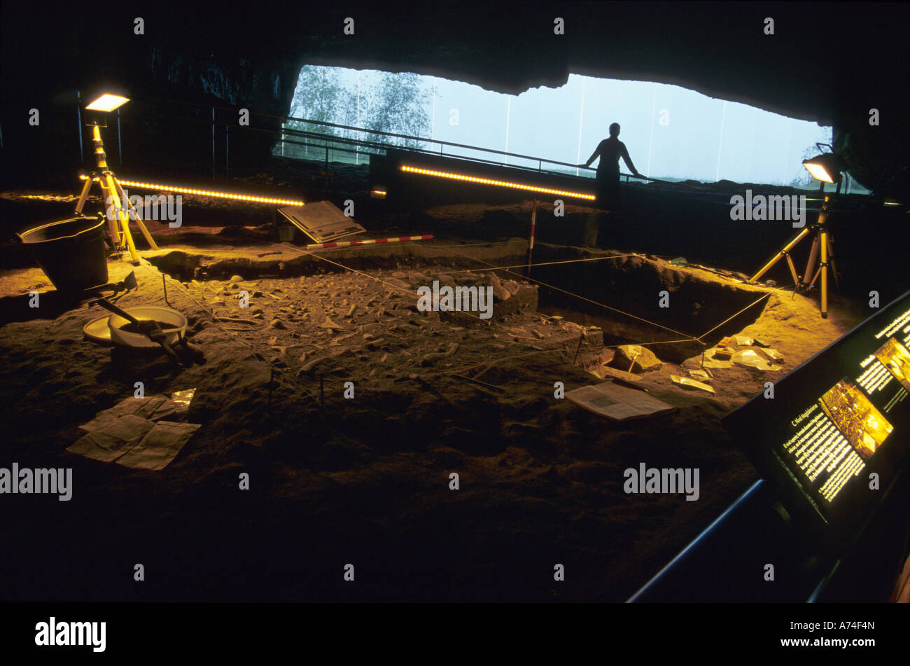 Dig and entrance ALTAMIRA NEO CAVE MUSEUM Santillana del Mar Cantabria Spain - Stock Image