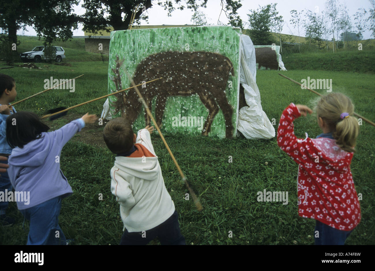 Hunting a deer as in Paleolithic times Complex of ALTAMIRA NEO CAVE MUSEUM Santillana del Mar Cantabria Spain - Stock Image