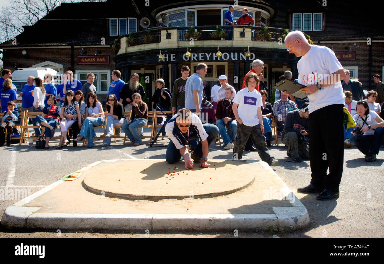 The British and World Marbles championship at The Greyhound pub, Tinsley Green, Crawley UK. Picture by Jim Holden. - Stock Image