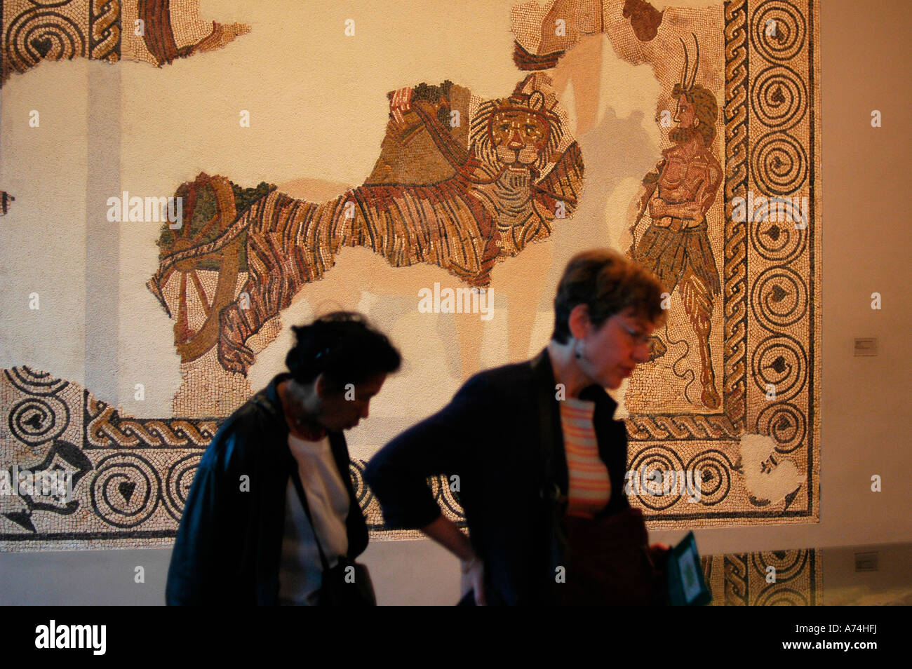 Roman mosaic of Baco victory Museum of Navarre PAMPLONA Navarre Spain Stock Photo