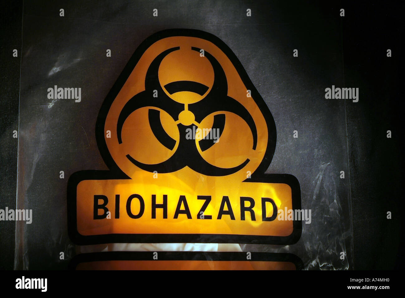 Medical Waste with Biohazard symbol and bag - Stock Image