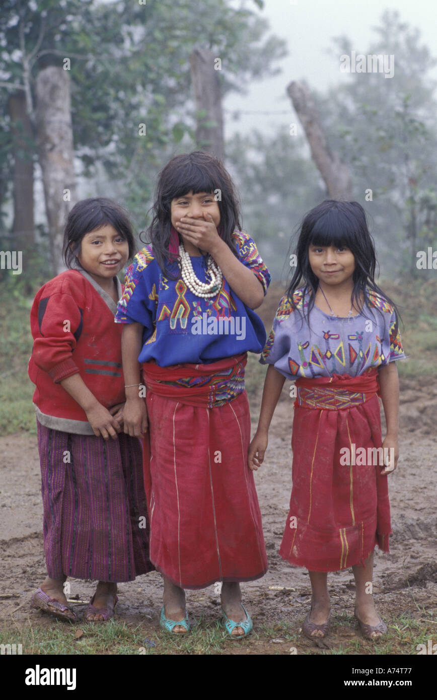Central America, Guatemala, Ixil Triangle Ixil tribal girls - Stock Image
