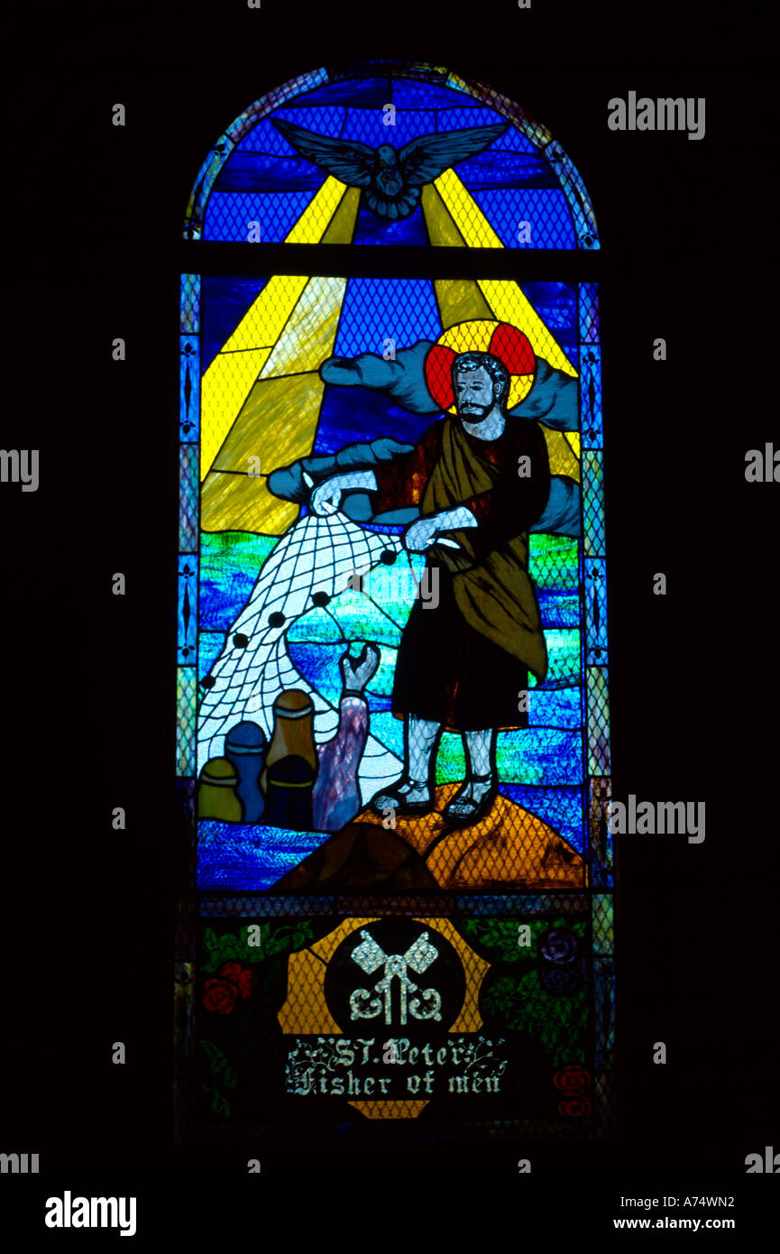 Parham Antigua St Peters Anglican Church St Peter Fisher of Men Stained Glass Window - Stock Image