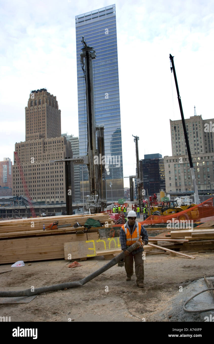 construction worker at ground zero on the site of the atrocity in manhattan new york - Stock Image