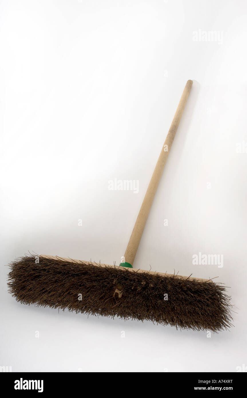 old fashioned sweeping broom on white background Stock Photo