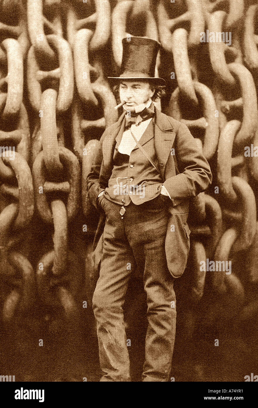 ISAMBARD KINGDOM BRUNEL English engineer and inventor 1806 to 1859 in front of the launch chains of the Great  Eastern - Stock Image
