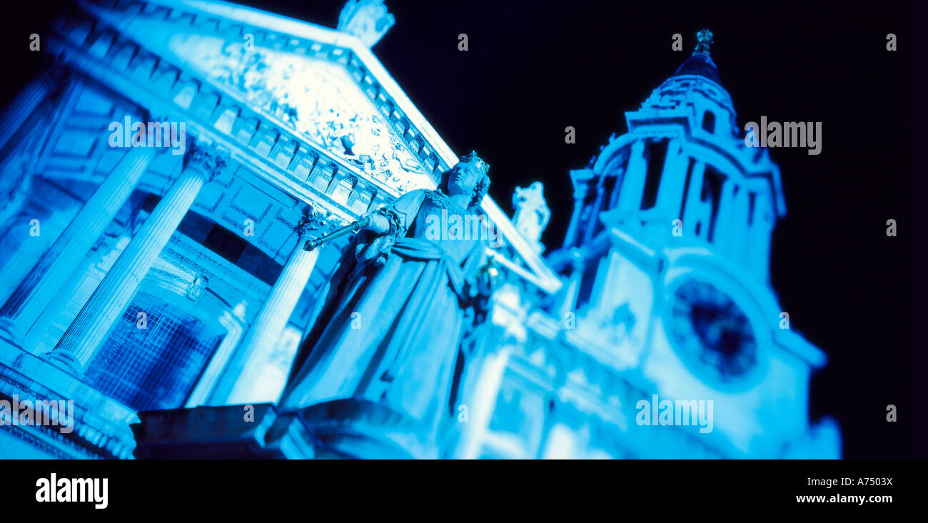 front of st pauls cathedral cross processed london shot at night - Stock Image