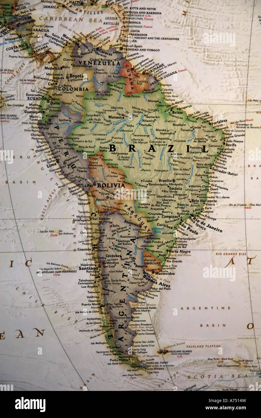 a close view of south america and parts of central america on a high quality world map