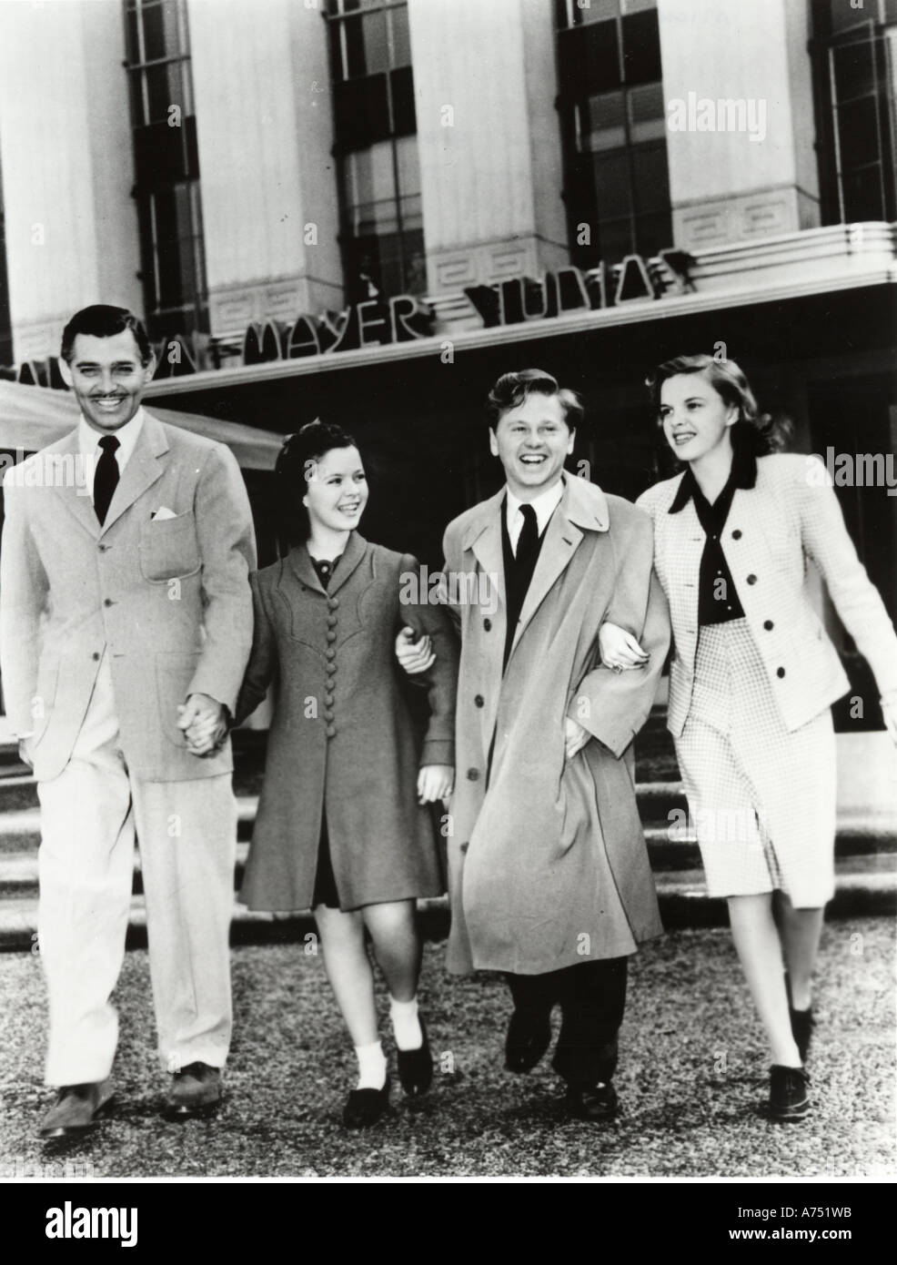 MGM starsof the 30s/40s from left Clark Gable Shirley Temple Mickey Rooney Judy Garland - Stock Image
