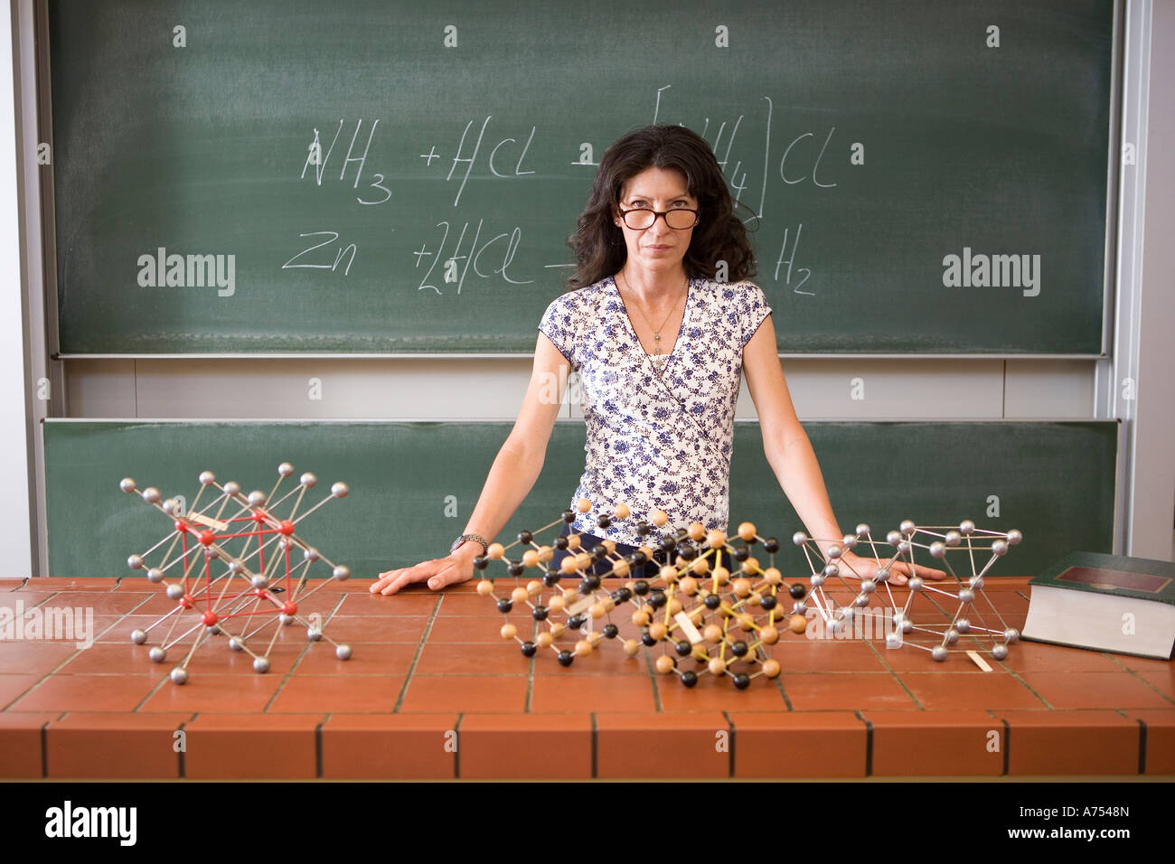 Science Teacher Standing At Desk Stock Photo 11726948 Alamy