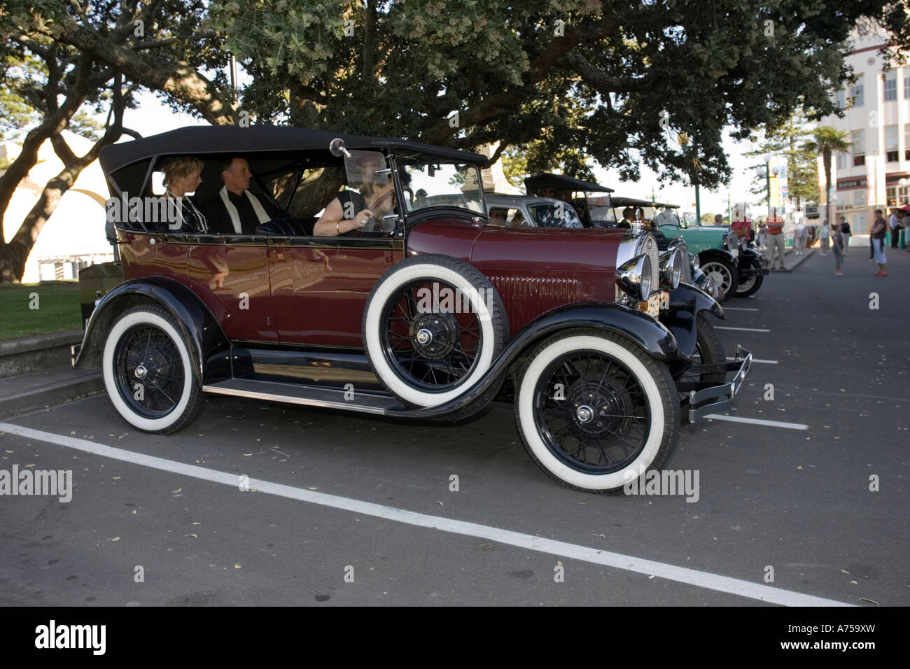 Classic vintage old Ford motor car Art Deco weekend Napier North Island New Zealand - Stock Image