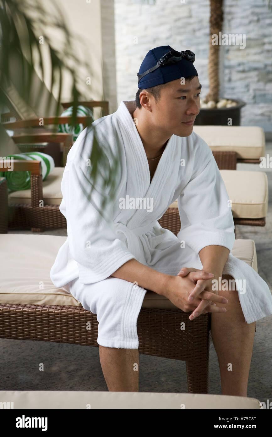 Man Wearing Bathrobe And Swimcap In Spa Stock Photo Alamy