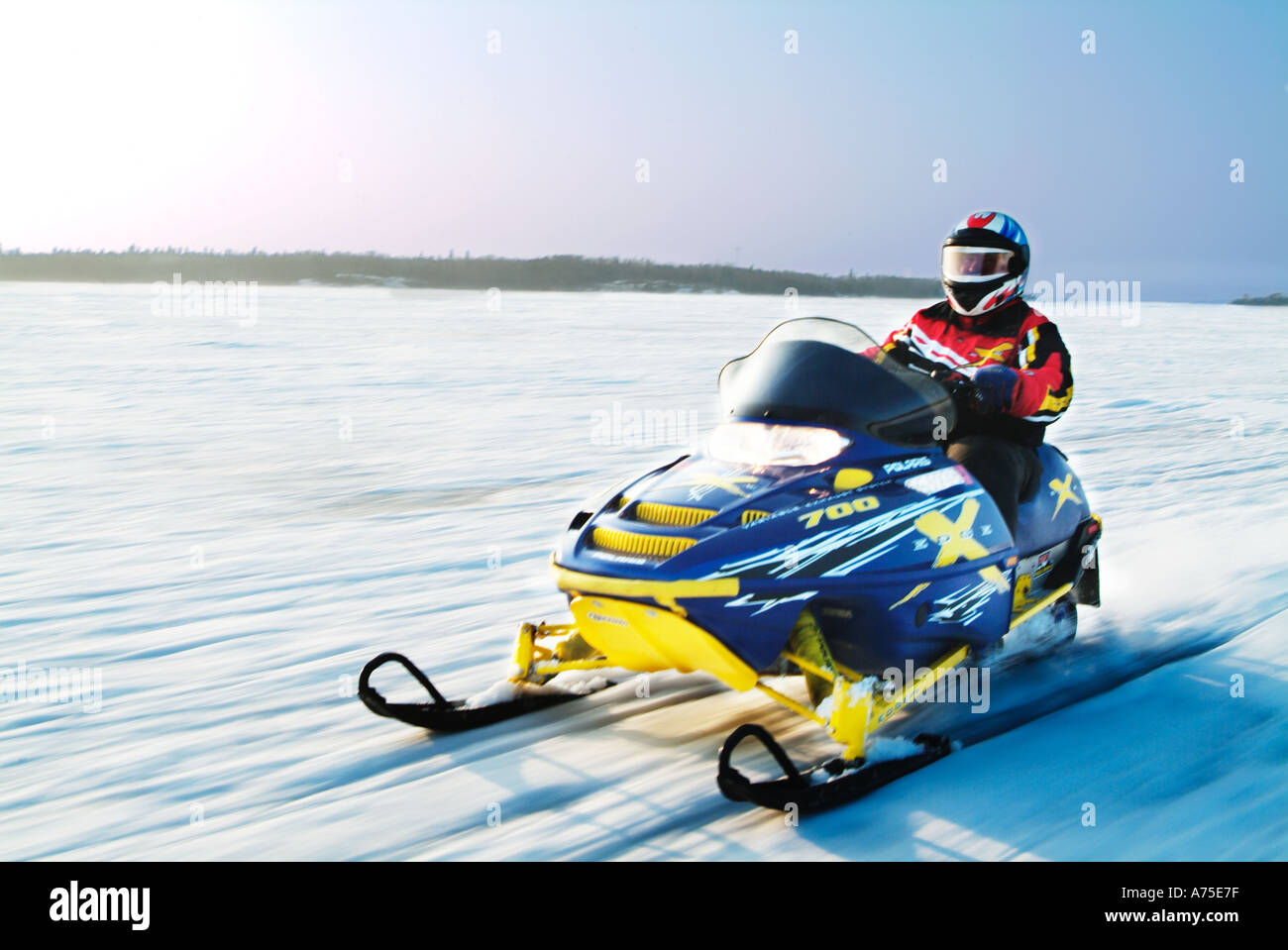 Snowmobiling in Minnesota - Stock Image