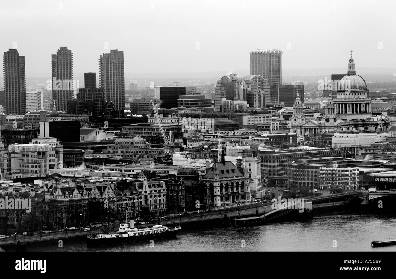 London looking North West across River Thames in Black and White. Stock Photo