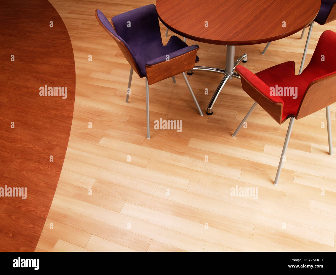 different types of wood furniture. Birds Eye View Of Round Wooden Table With Modern Design Chairs On Parquet Floor Made Two Kinds Wood Different Types Furniture