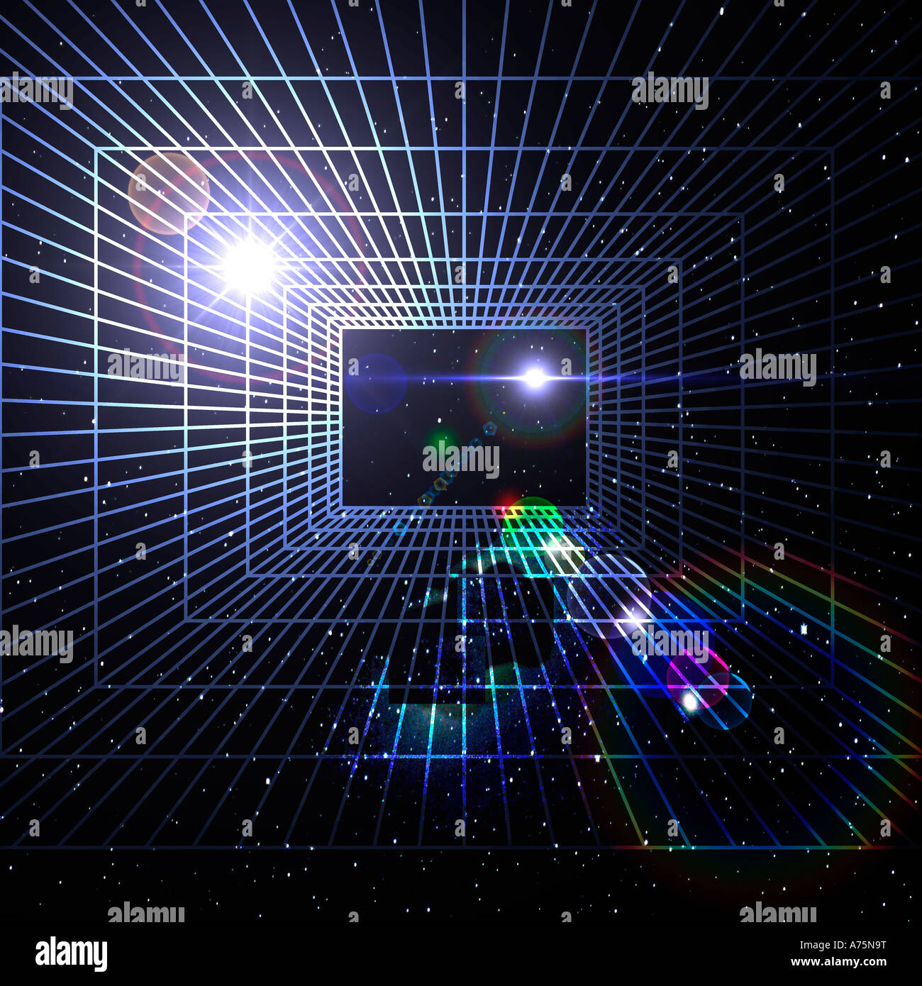 rectangular grid positioned over large portion of starry night sky - Stock Image