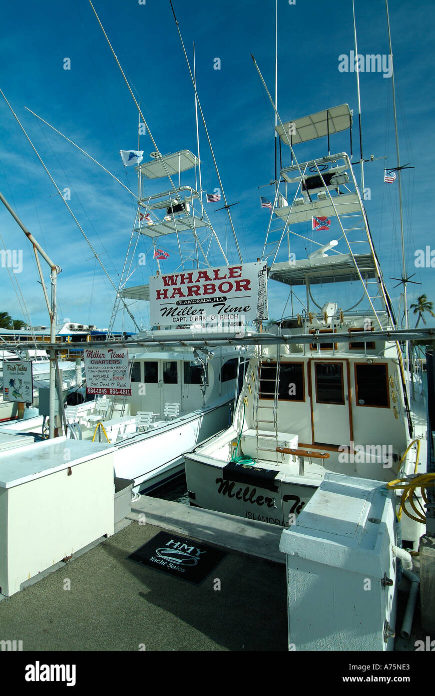 Charter Fishing Boats In Islamorada In Florida Stock Photo
