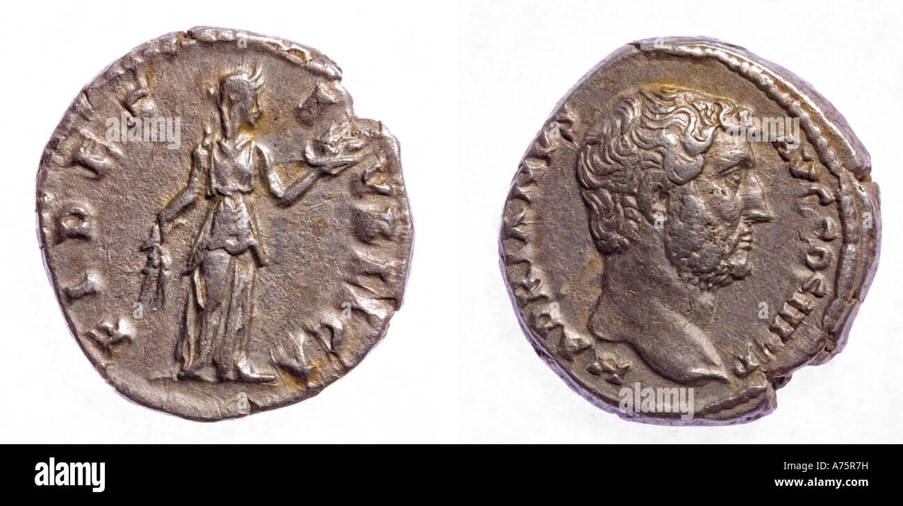 Silver Denarius of Hadrian - Stock Image