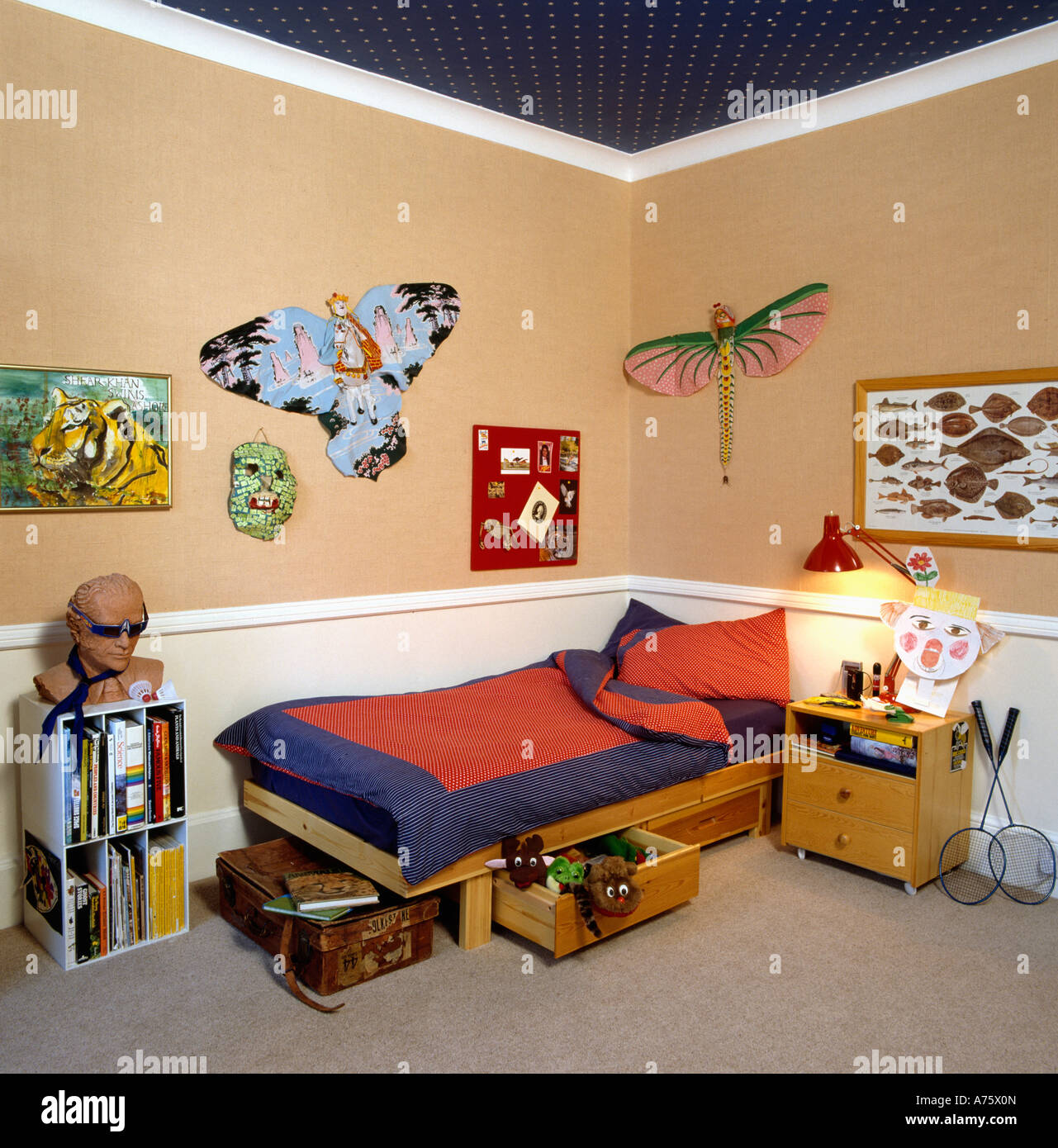 Paper Butterflies And Pictures On Walls In Child S Bedroom With White Stock Photo Alamy