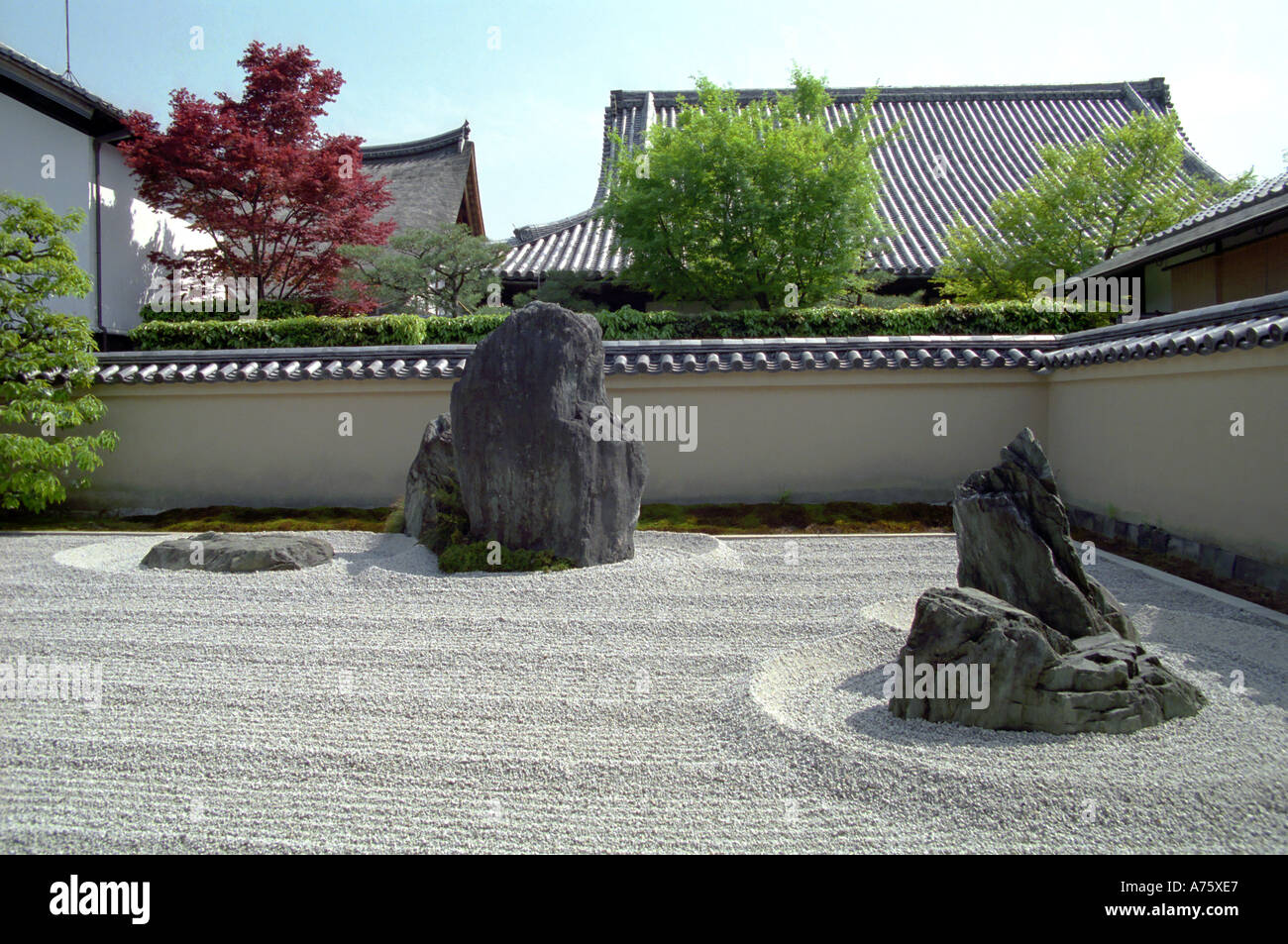 Rock garden Ryogen in Zen Temple Isshidan Daitoku ji Temple Kyoto Japan - Stock Image