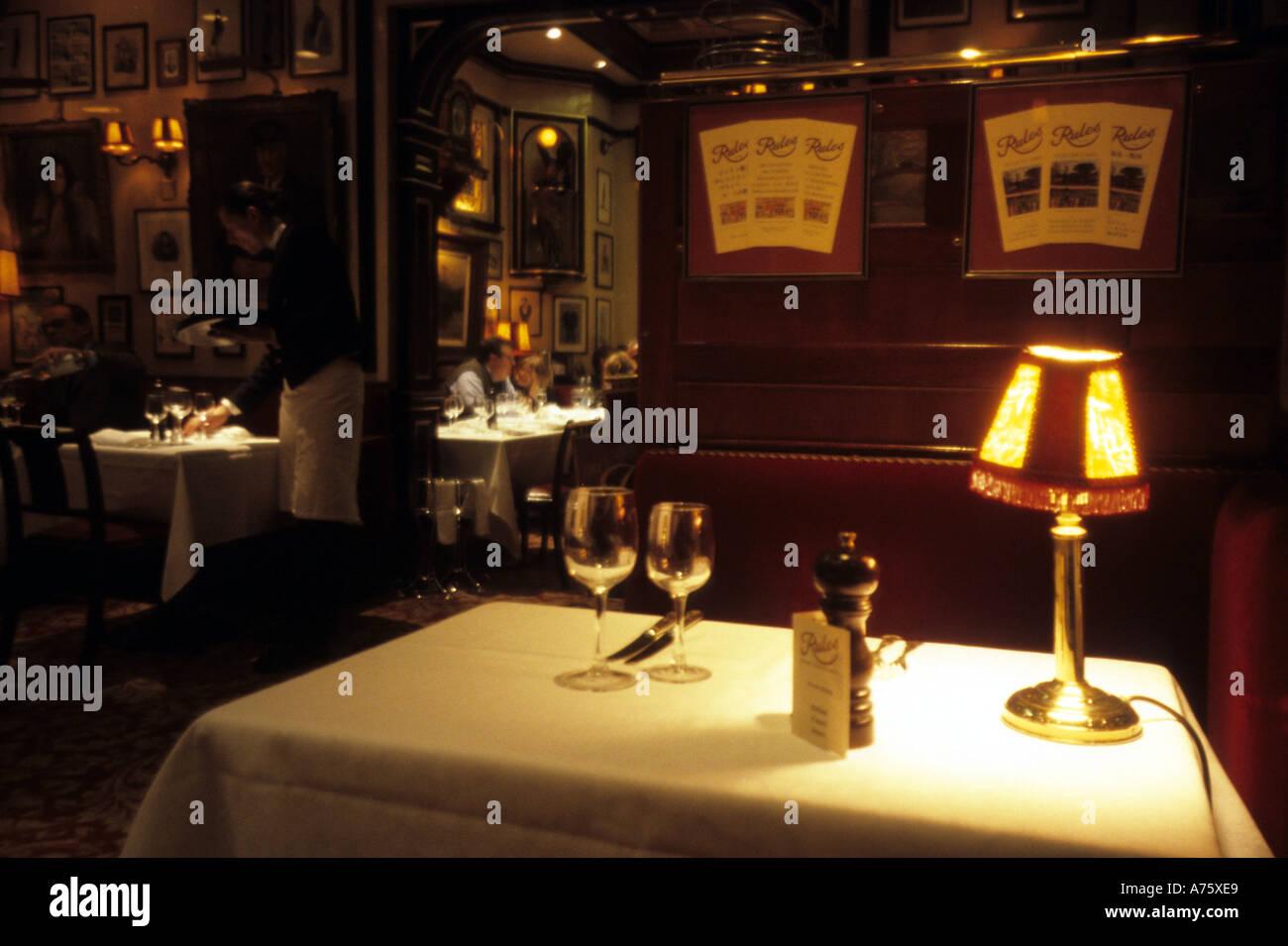 table setting Rules restaurant maiden lane covent garden london UK ...