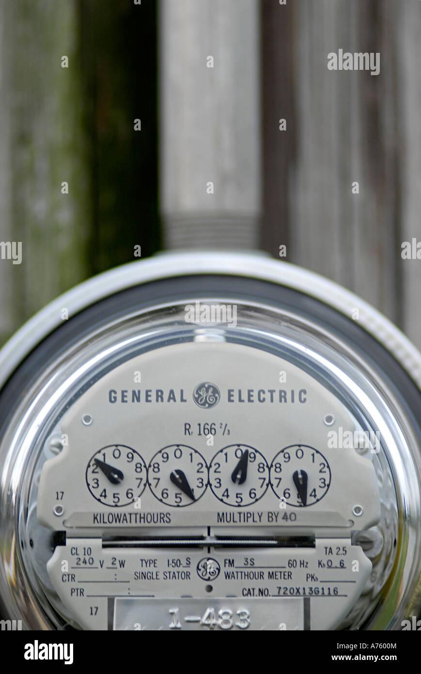 Closeup of an electric meter - Stock Image