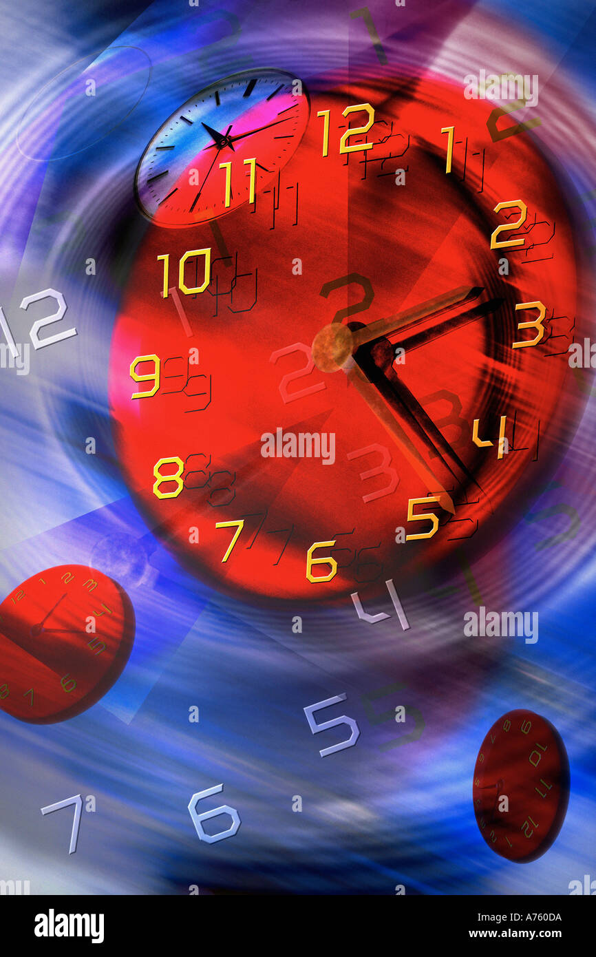 Colorful timepiece in motion - Stock Image