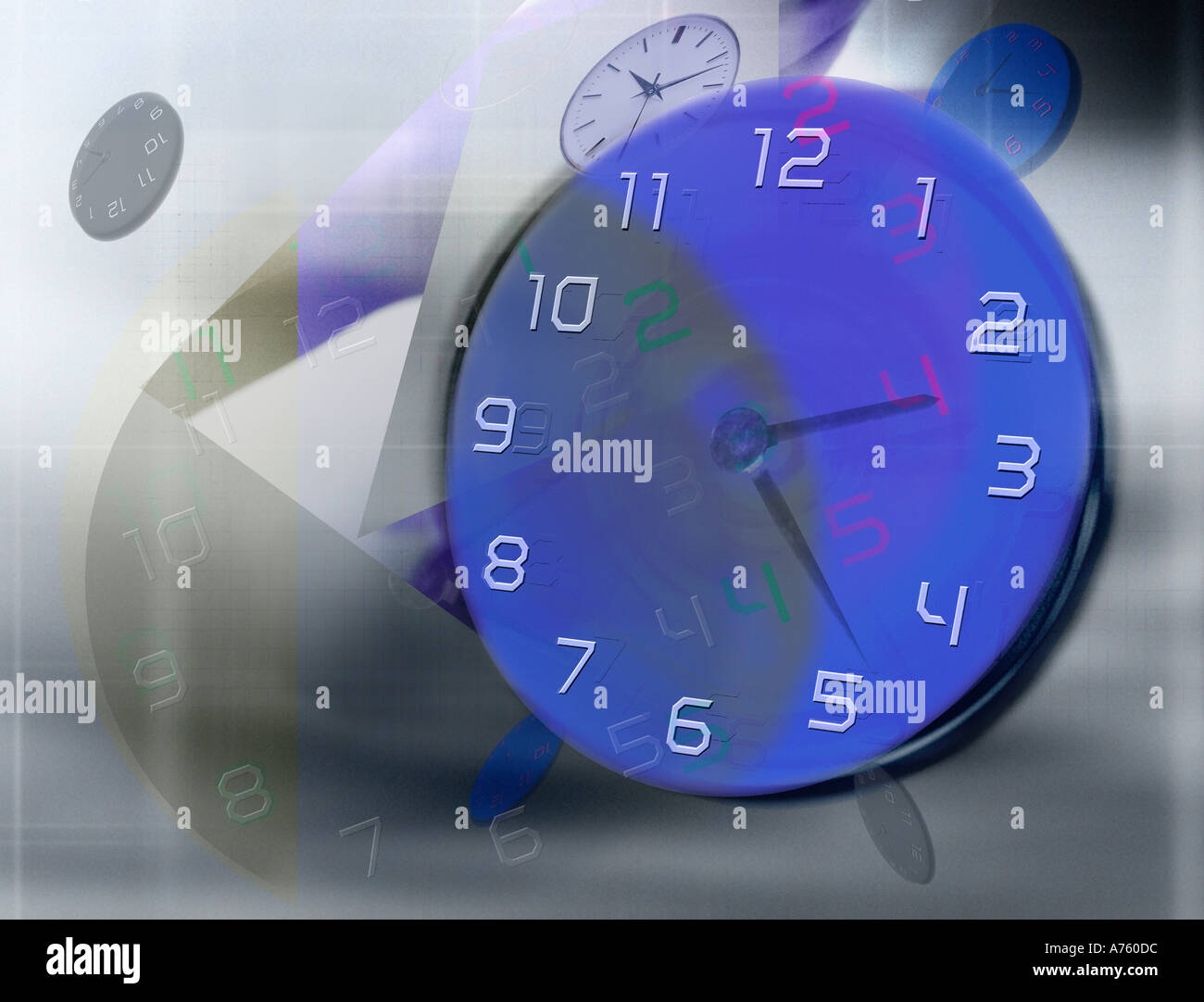 Blue timepiece on abstract motion background - Stock Image