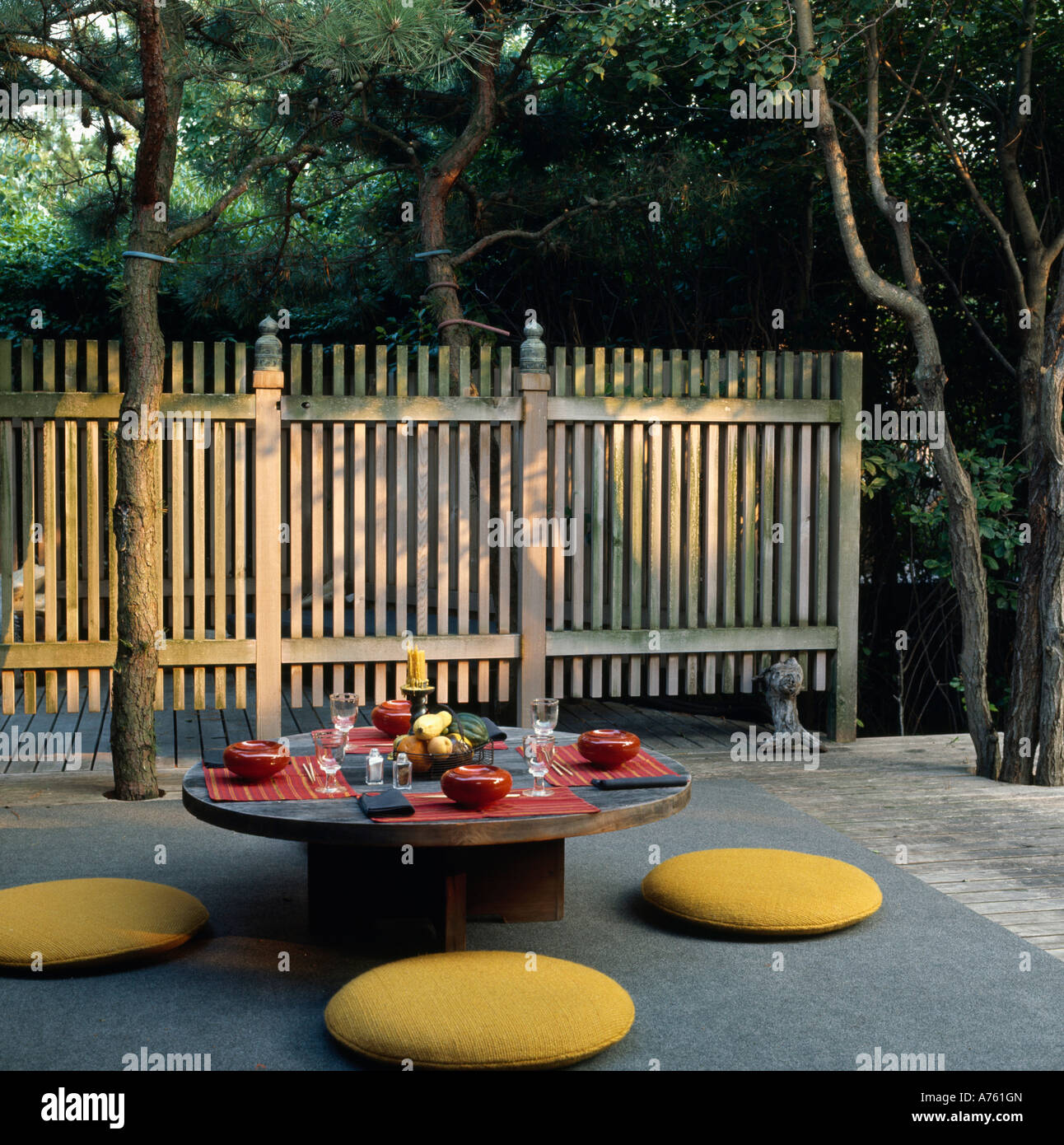 japanese patio furniture. Yellow Cushions Around Circular Table In Japanese Style Patio With Wooden Fenc Furniture E