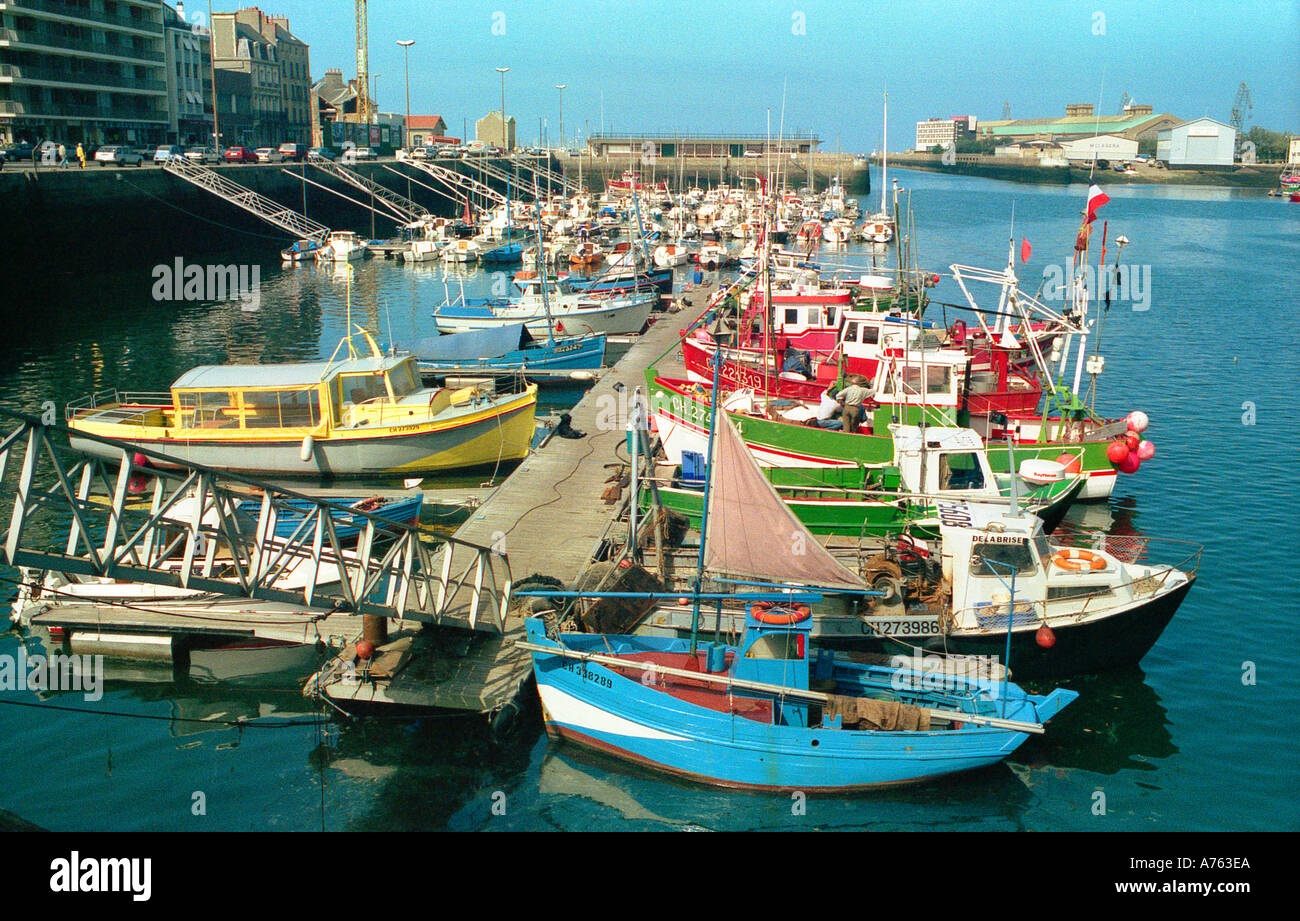 Fishing boats Cherbourg Harbour Normandy France Stock Photo