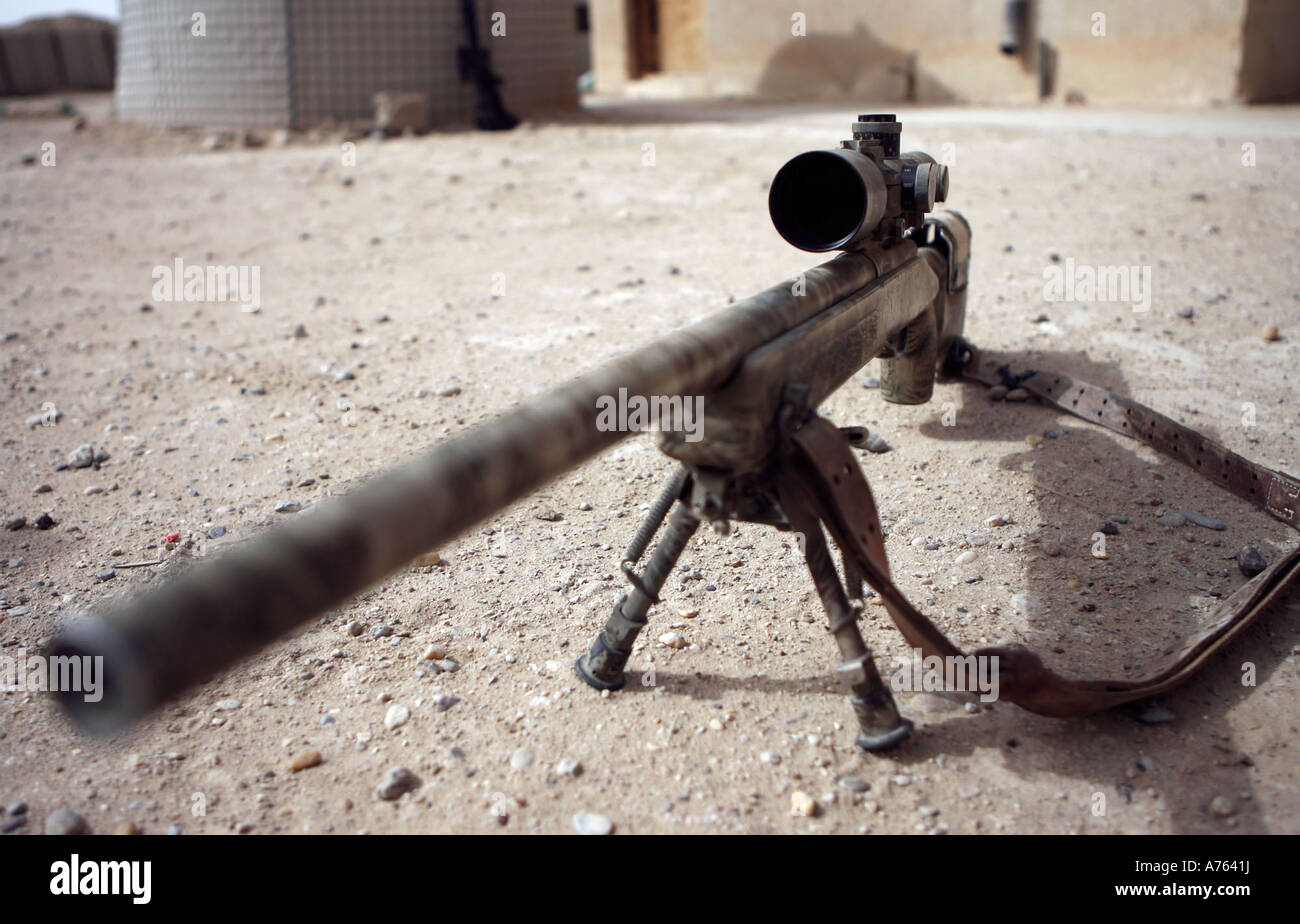 The Schmidt & Bender M-854155 DS Scout Sniper Day Scope is mounted on the M-40A3 sniper rifle. - Stock Image