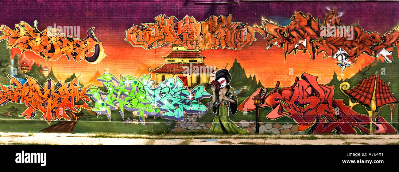 Wall Painting Full Gisha Panarama Building Street Art Graffiti Stock