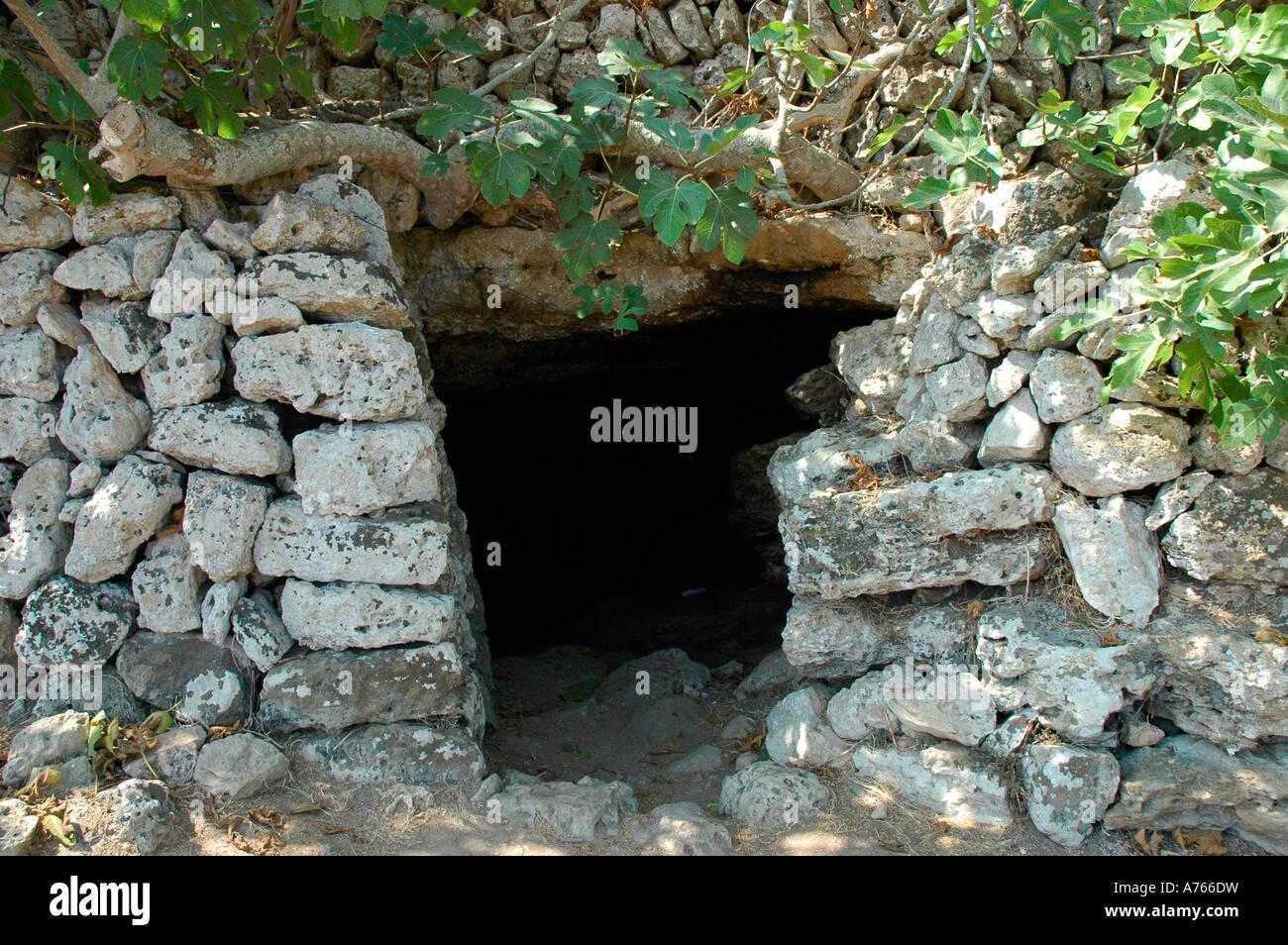 Cave in Talati de Dalt site MENORCA Balearic Islands Spain - Stock Image