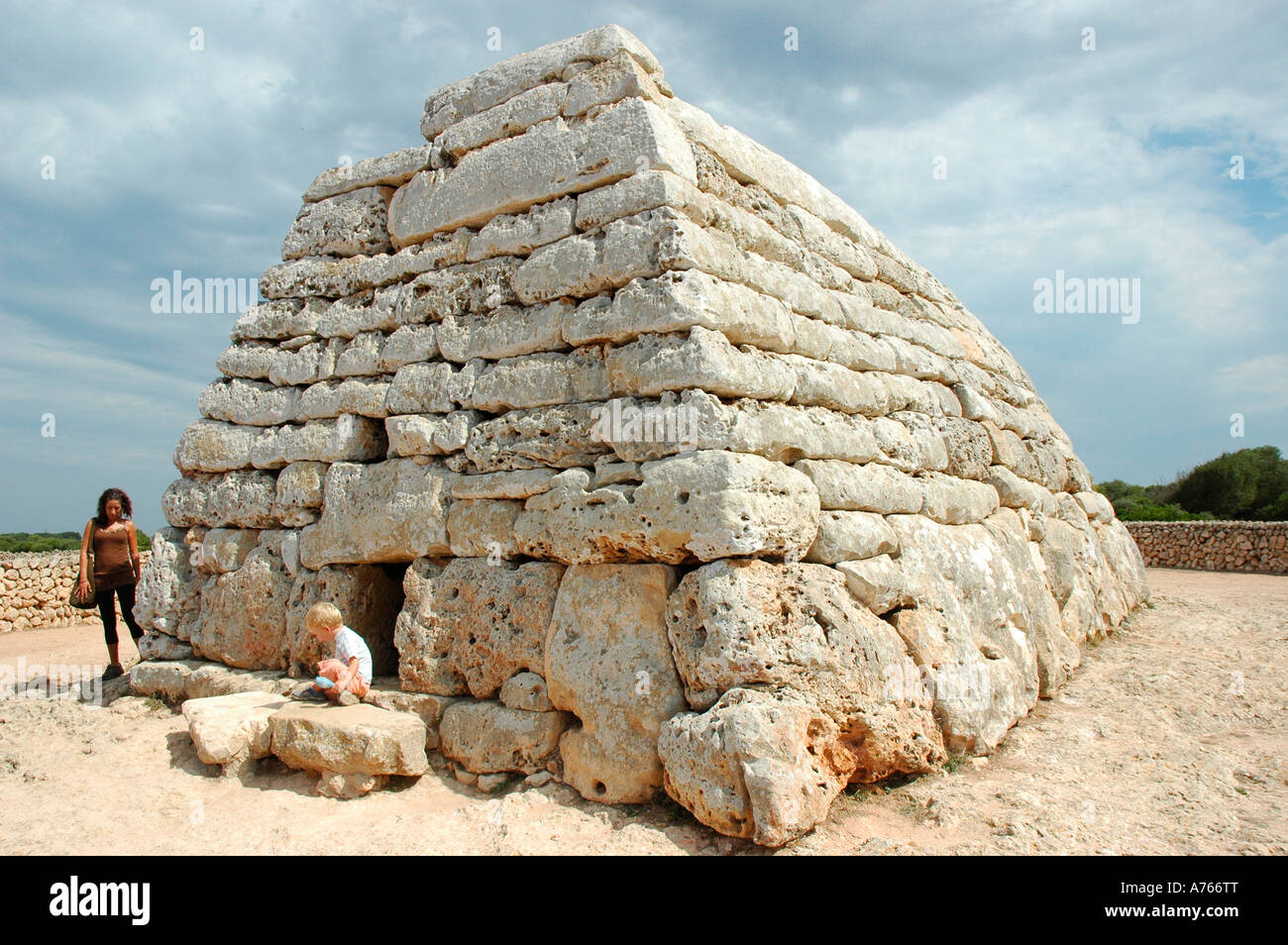 Naveta des Tudons chamber tomb MENORCA Balearic Islands Spain - Stock Image