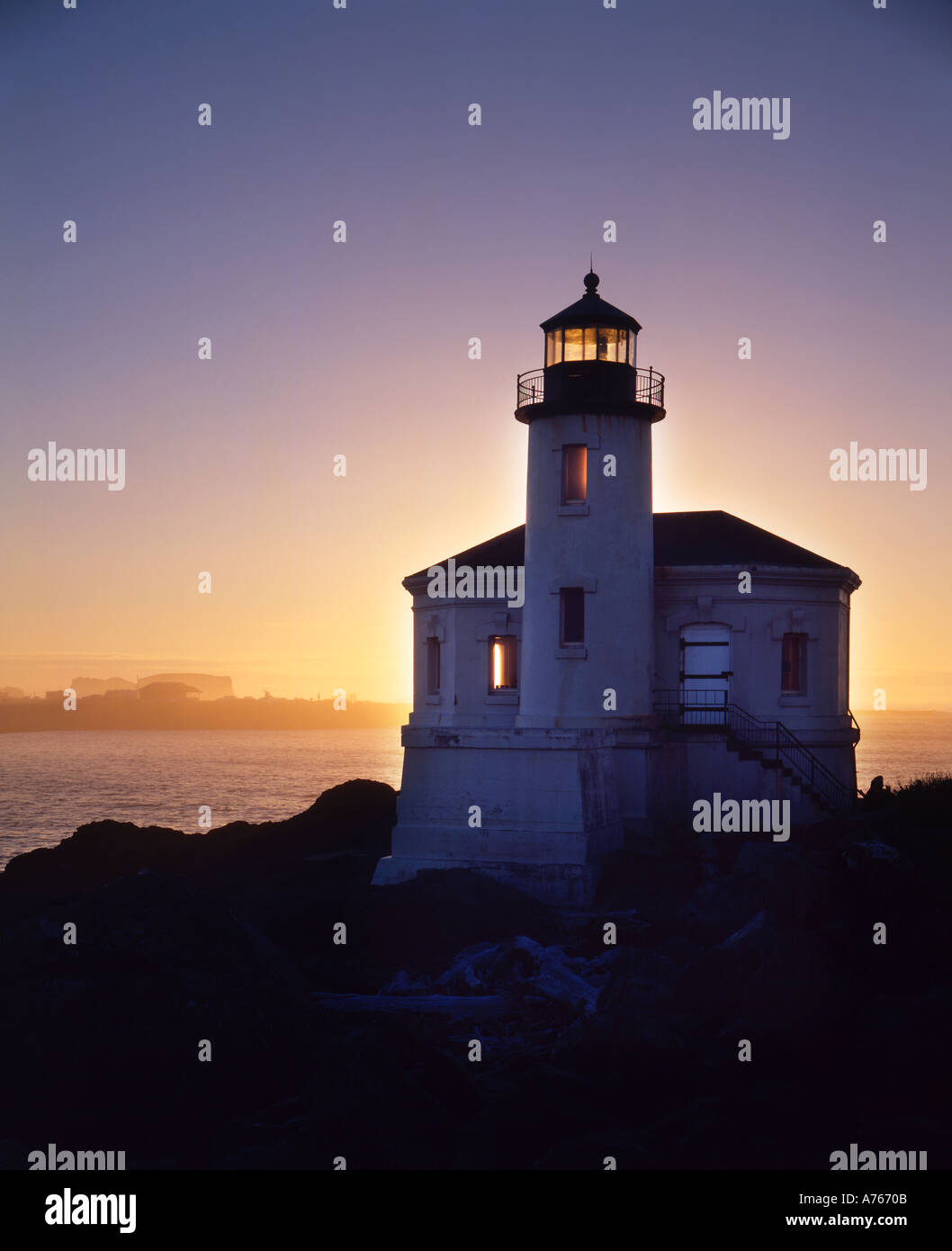 the coquille river lighthouse is located 2 miles north of Bandon Oregon U S A on the north bank of the Coquille river the 40 fo - Stock Image