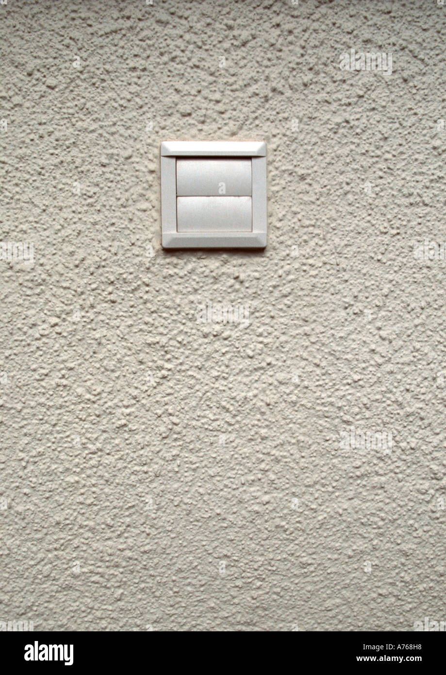 Exceptional White Plastic Ventilation Cover On White Rendered Outside Wall