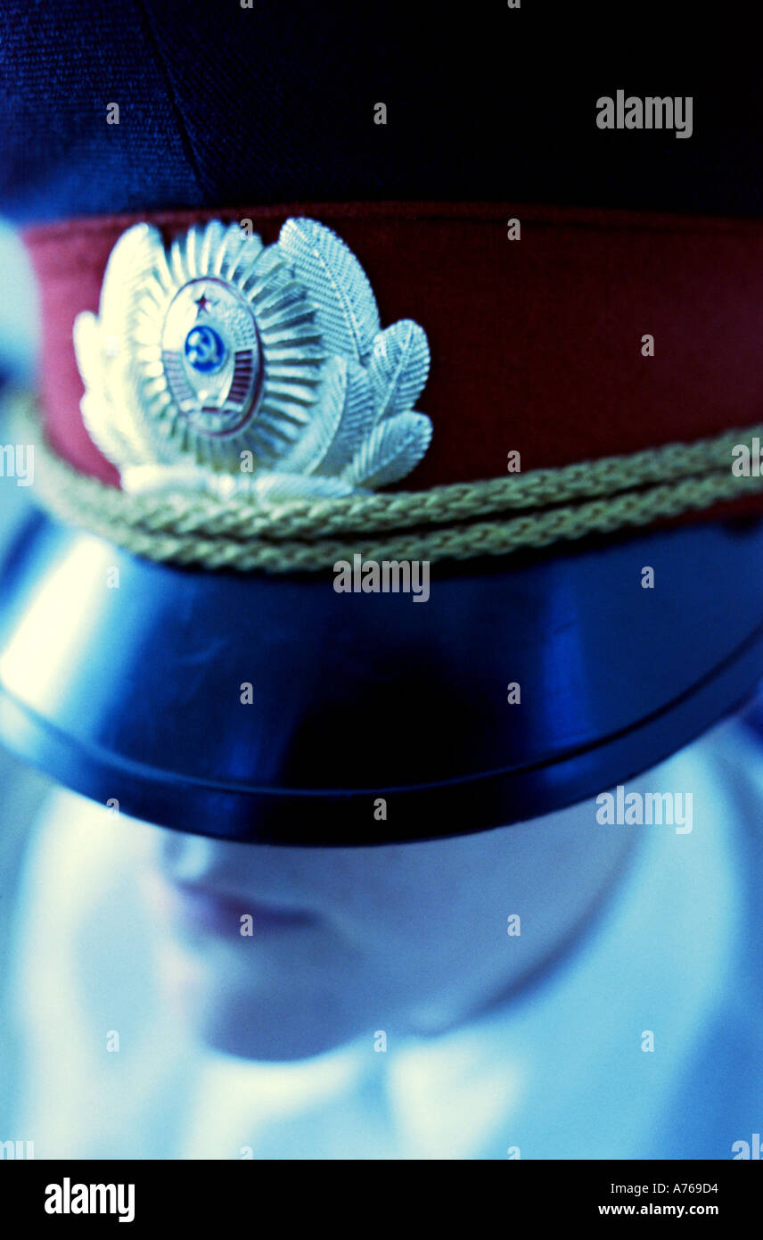 Large Hat and lower of face Blue - Stock Image