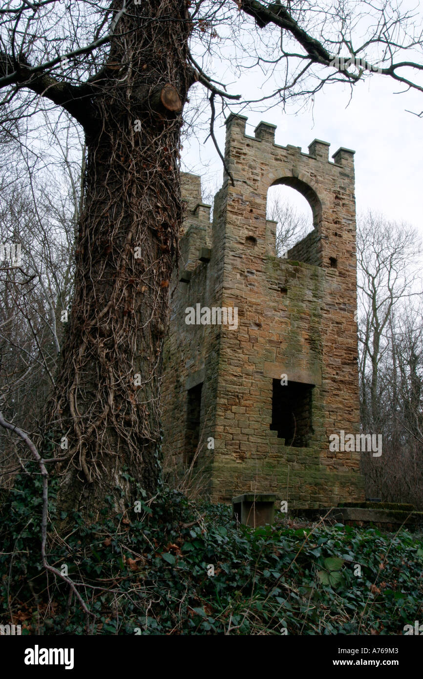 Footpaths lead from Worsbrough Country Park to the blast furnace dating back to 1652 and the engine house built in 1812 - Stock Image