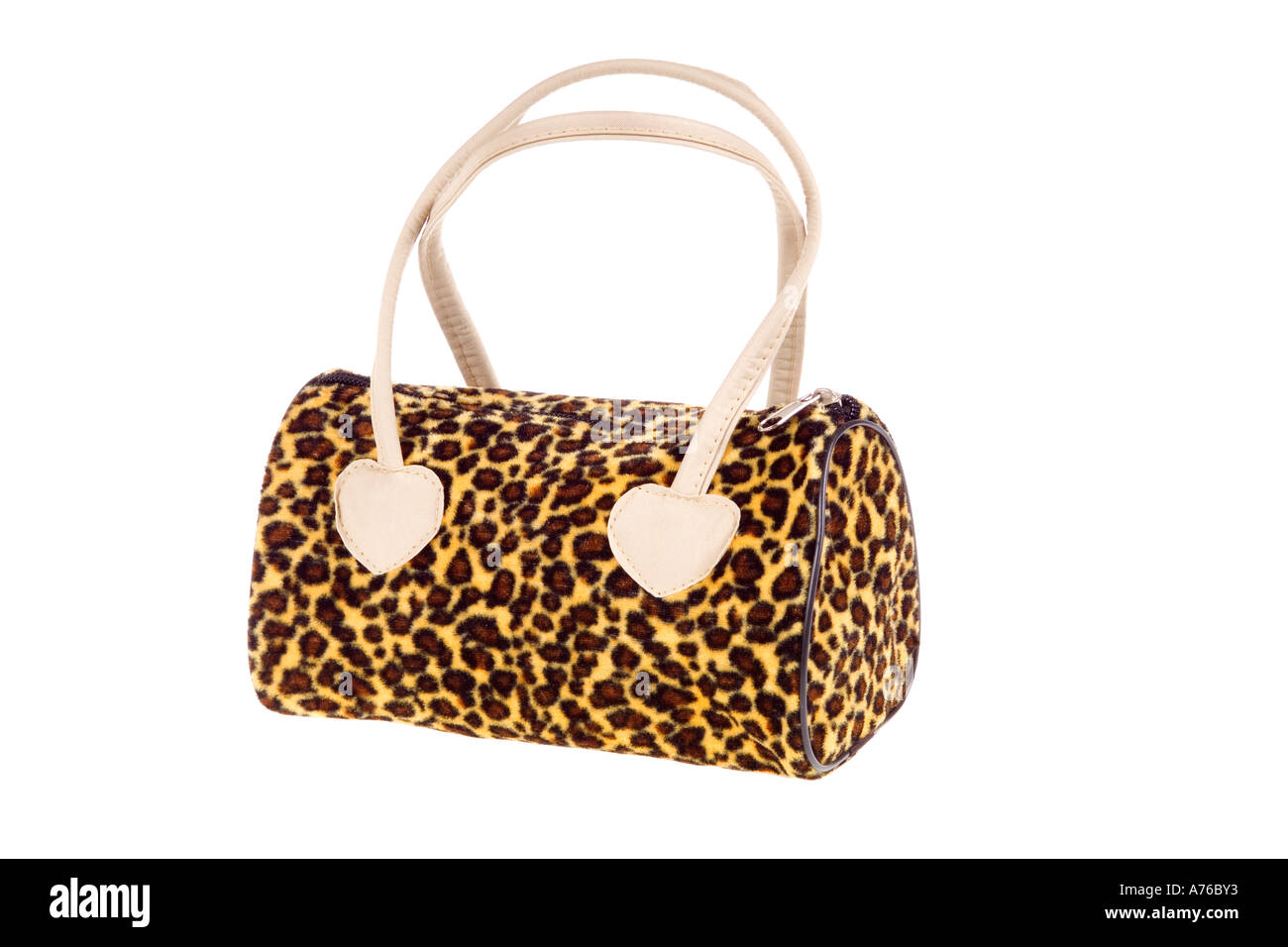 04eda83521c9f9 Kitsch fake leopard print handbag on a pure white background. - Stock Image