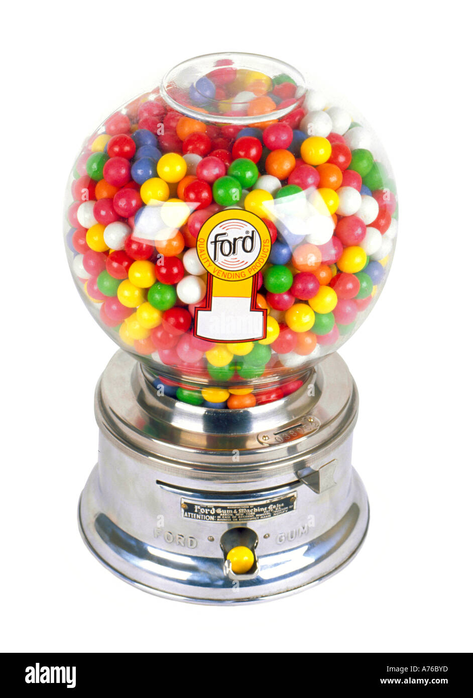Chrome childrens bubble gum sweet dispenser on a pure white background. - Stock Image