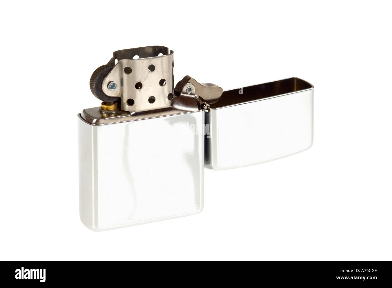Flip top petrol zippo style lighter on a pure white background. - Stock Image
